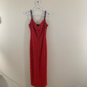 Super sexy Red Lace Floor Length Maxi Dress